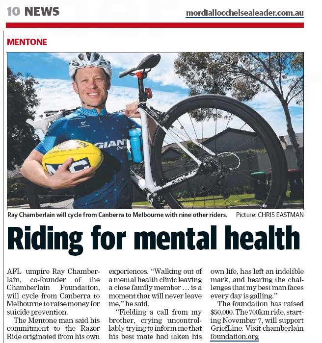 Ray Chamberlain and the Razor Ride featured in the Mordialloc and Chelsea Leader